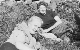 Great grandma ISOBEL HOGG and FIONA HOGG at he cottage in 1950's